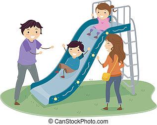 diapositiva, stickman, patio de recreo, familia