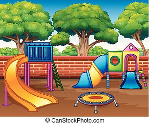 diapositive, bambini, parco, campo di gioco