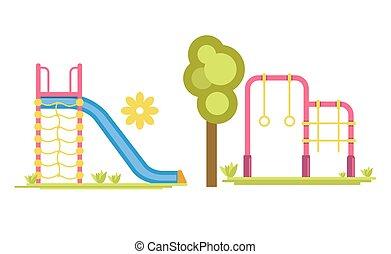 diapositive, barre, campo di gioco, bambino