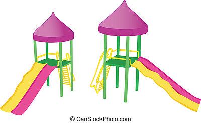 diapositive, due, colorito, campo di gioco