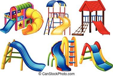 diapositives, ensemble, coloré