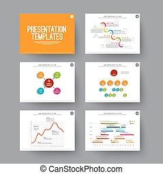 diapositives, infographic, présentation, éléments