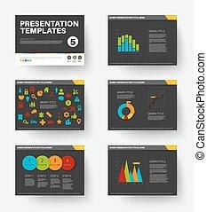 diapositives, présentation, vecteur, 5, gabarit