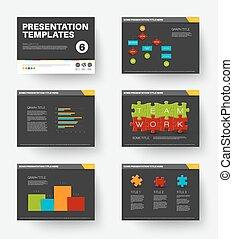 diapositives, vecteur, présentation, gabarit, 6