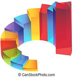 diapozitiv, schodiště, schod, sloupec, graf