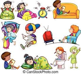 diariamente, atividades, de, crianças