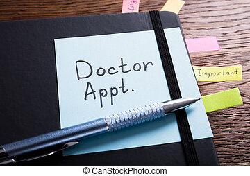 diario, appuntamento, dottore, scrivania