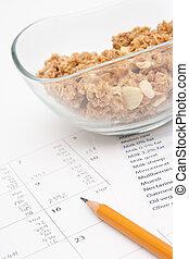 diario, nutrición, entrada, control