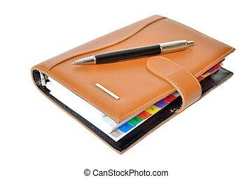 diario, pluma, planificador