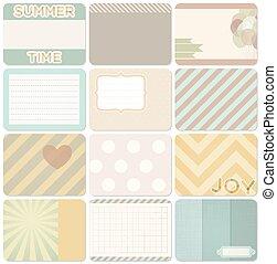 diario,  vector, Conjunto, tarjetas
