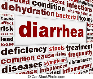 Diarrhea medical warning message concept
