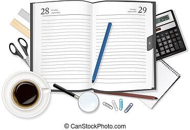 diary., カップ, コーヒー, よい香りである