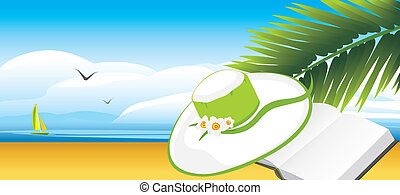 Diary and female hat on the background of landscape. Vector...