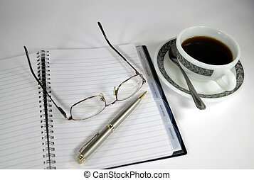 diary coffee - coffee, pen, glasses and diary
