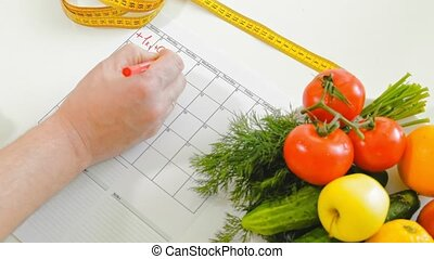 diary fitness, healthy eating, healthy lifestyle concept,...