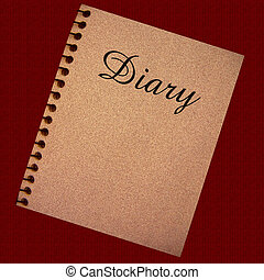 diary illustration - diary spiral notebook on dark...