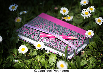 notebook and pink pencil among daisies