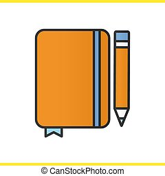 Diary notebook with pencil color icon