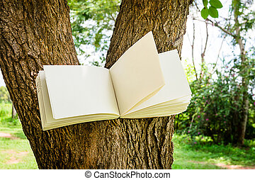 diary on tree - diary and notebook on tree for learning...