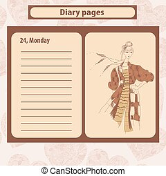 Diary or note pages with illustration of young fashion woman in boho style
