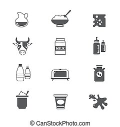 Diary products, milk vector icons set