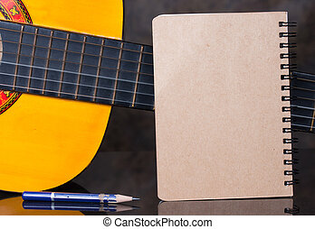Diary ring binder with classical guitar background