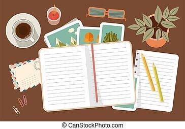 diary., tervezés, szervezet, személyes, workplace