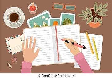 diary., tervezés, woman írás, dél, kézbesít, birtok, ...