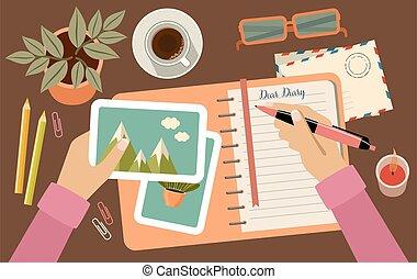 diary., tervezés, woman írás, dél, kézbesít, birtok,...