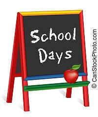 dias, cavalete, maçã, professor escola, chalkboard, crianças