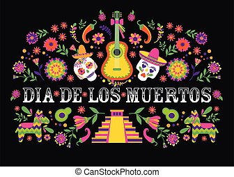 Dias de los Muertos typography banner vector. Mexico design for fiesta cards or party invitation, poster. Flowers traditional mexican frame with floral letters on black background.