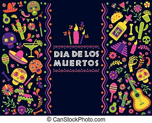 Dias de los Muertos typography banner vector. Mexico design for fiesta cards or party invitation, poster. Flowers traditional mexican frame with floral letters on dark background.