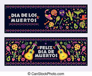Dias de los Muertos typography banners vector. Mexico design for fiesta cards or party invitation, poster. Flowers traditional mexican frame with floral letters on dark background.