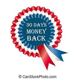 dias, dinheiro, 30, costas, etiqueta, garantia