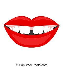 Diastema, gap between teeth, female laughing mouth. Vector...