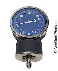 A Sphygmomanometer showing a normal diastolic pressure over white