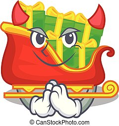 diavolo, carattere, regali, santa, sleigh, natale