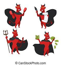 diavolo, corna, demone, mantello, coda, pelle, o, rosso