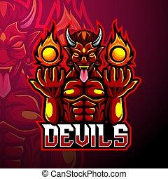 diavolo, disegno, logotipo, mascotte, esport