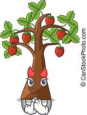 diavolo, suolo, albero, crescere, fragola, cartone animato