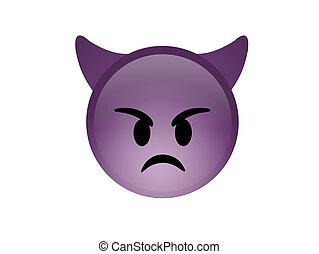 diavolo, viola, arrabbiato, demone, isolato, faccia, corna, icona