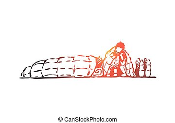 dibujado, aislado, mano, ilegal, migrant, crisis, sin hogar, concept., vector.