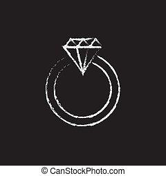 dibujado, anillo, diamante, icono, chalk.