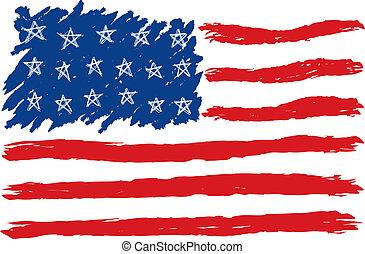 dibujado, bandera estadounidense, mano