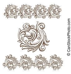 dibujado, barroco, elementos, mano