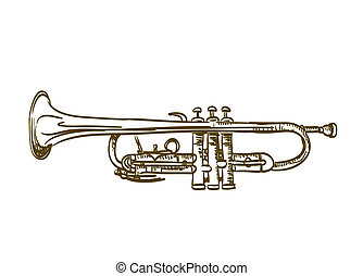 dibujado, blanco, trompeta, mano
