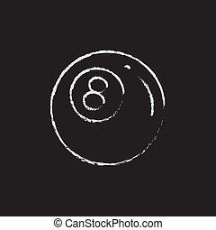 dibujado, bola de billar, icono, chalk.