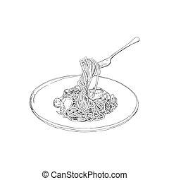dibujado, bosquejo, espaguetis, vector., mano