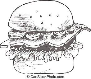 dibujado, bosquejo, hamburguesa, mano