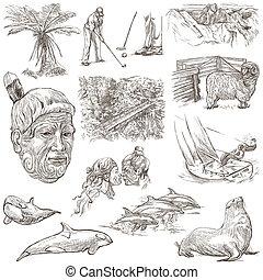 dibujado, collection., set., mano, zealand., cuadros, ...